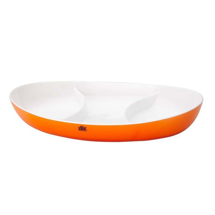 Менажница с двойными стенками 28х17х3,5 см, оранжевая
