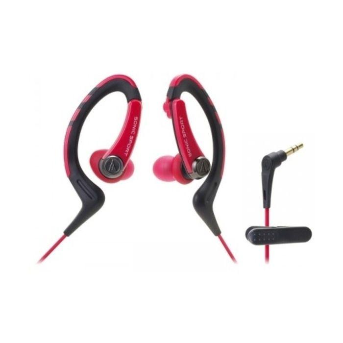Наушники AUDIO-TECHNICA ATH-SPORT1 RD, спортивные, черно-розовые