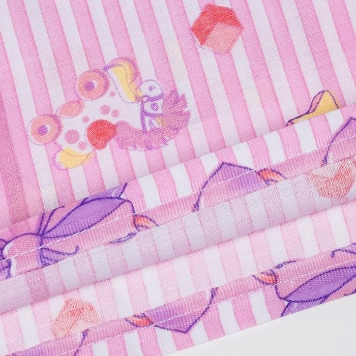 Пододеяльник детский, размер 85*115 см, принт розовый микс 08.12