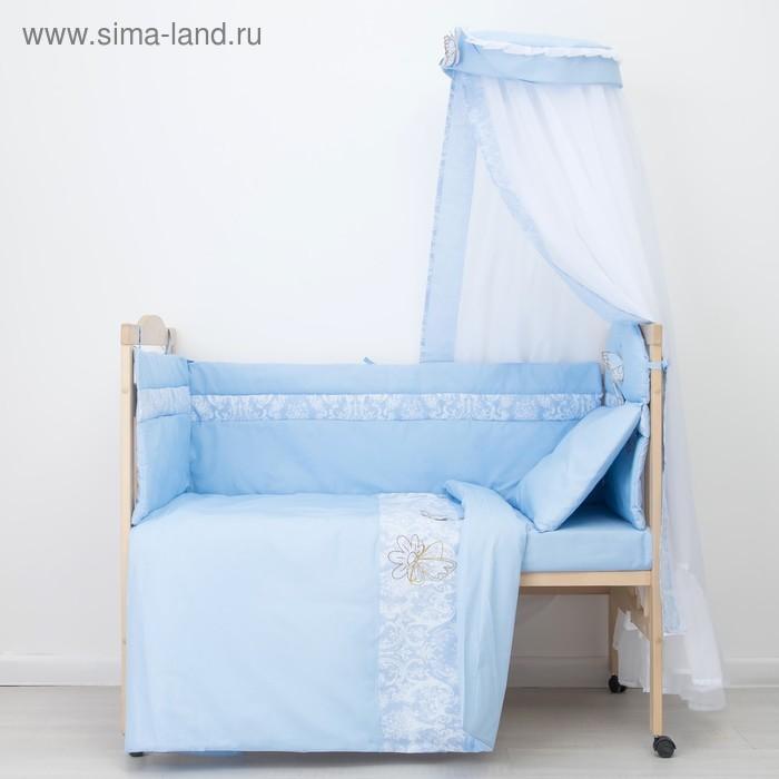 """Комплект в кроватку """"Бабочки"""" (7 предметов), цвет голубой 45"""