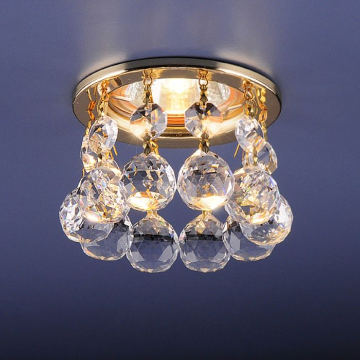 Светильник Elektrostandard MR16 GU5.3 2051 золото/прозрачный, с хрусталем