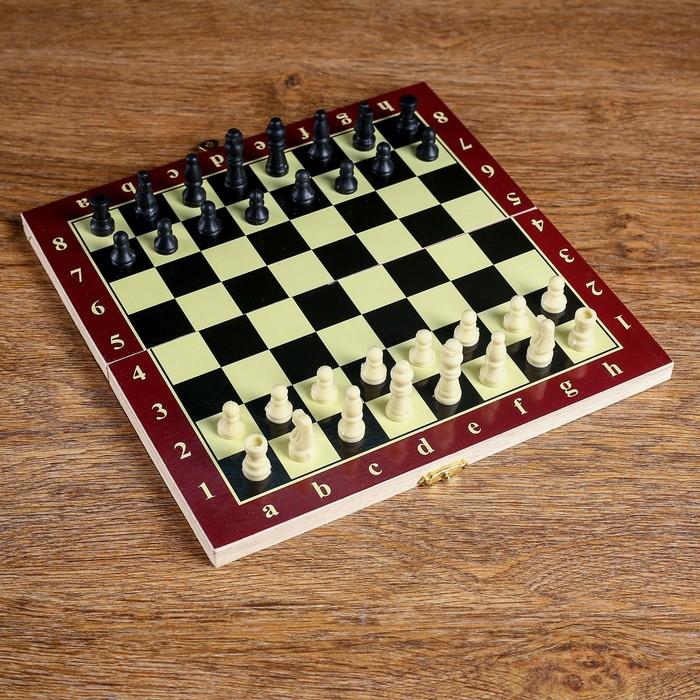 Игра настольная 3 в 1: нарды, шахматы, шашки, в плёнке, чёрно-белая доска 20 × 20 см