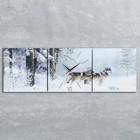 """Часы настенные, серия: Животный мир, модульные """"Волки в зимнем лесу"""", 35х110  см, микс"""