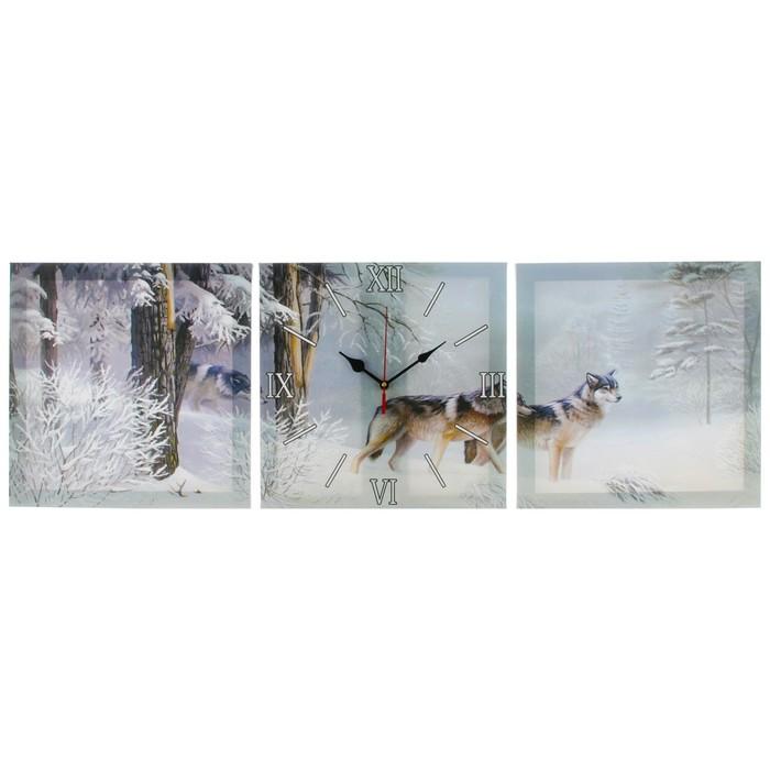 Часы настенные модульные «Волки в зимнем лесу», 35 × 110 см