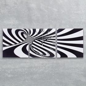 """Часы настенные, модульные, серия: Интерьер, """"Черно-белая абстракция"""", 35х110  см, микс"""