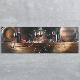 """Часы настенные, модульные, серия: Интерьер, """"Вино"""", 35х110  см, микс"""