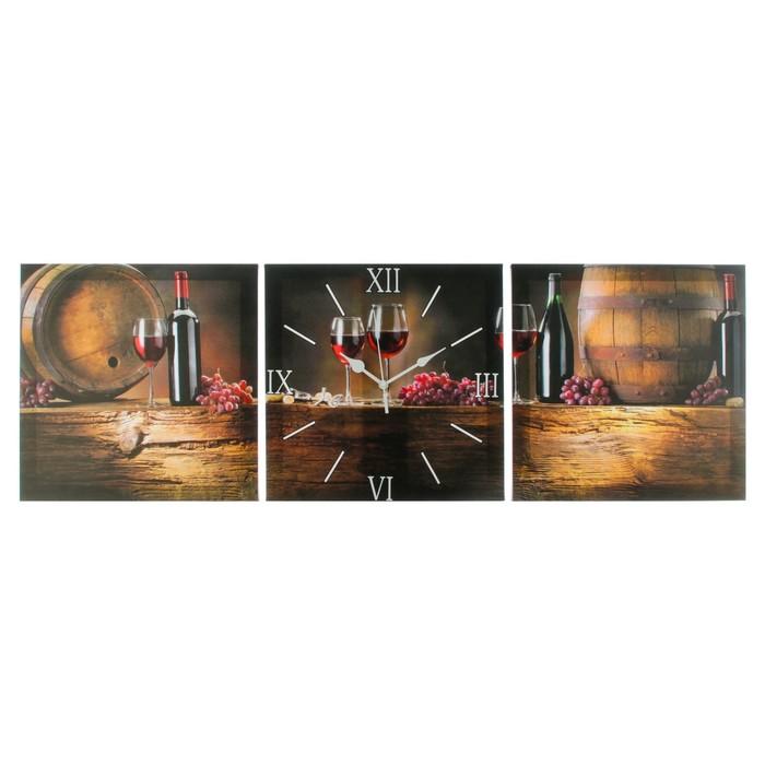 Часы настенные модульные «Вино», 35 × 110 см
