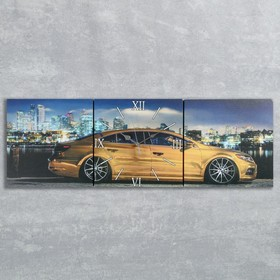 Часы настенные модульные «Спорткар», 35 × 110 см