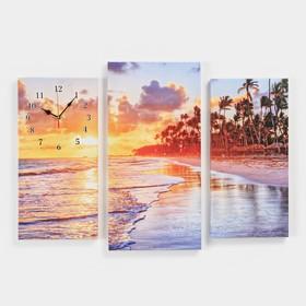 Часы настенные модульные «Пальмы на закате», 60 × 80 см