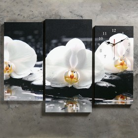 Часы настенные модульные «Белые орхидеи на камнях», 60 × 80 см