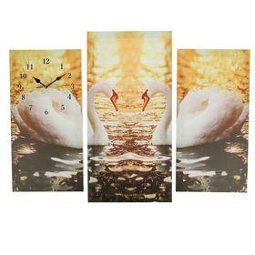 Часы настенные модульные «Пара лебедей», 60 × 80 см