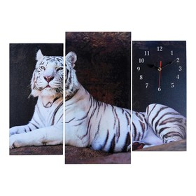 Часы настенные модульные «Белый тигр», 60 × 80 см
