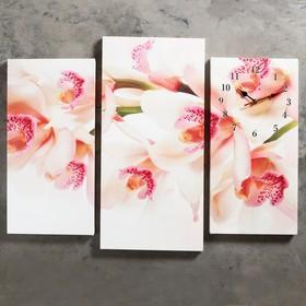 """Часы настенные, серия: Цветы, модульные """"Орхидеи"""", 60х80см"""