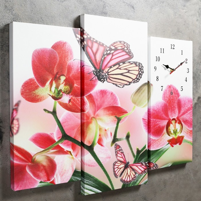 Часы настенные модульные «Бабочки на цветах», 60 × 80 см