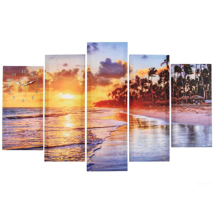 Часы настенные модульные «Закат на пляже», 80 × 140 см