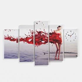 Часы настенные модульные «Девушка в красном», 80 × 140 см