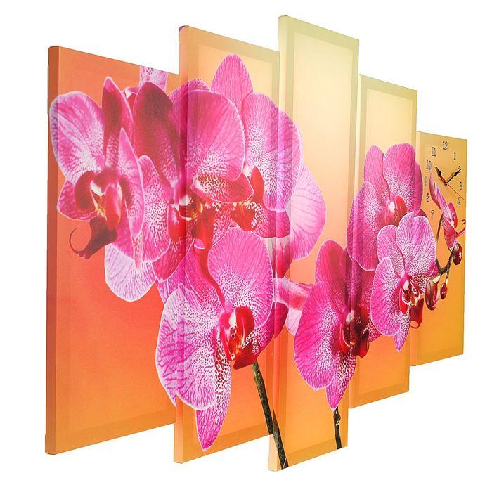 Часы настенные модульные «Фиолетовая орхидея», 80 × 140 см