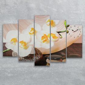 Часы настенные модульные «Камни и белые орхидеи», 80 × 140 см