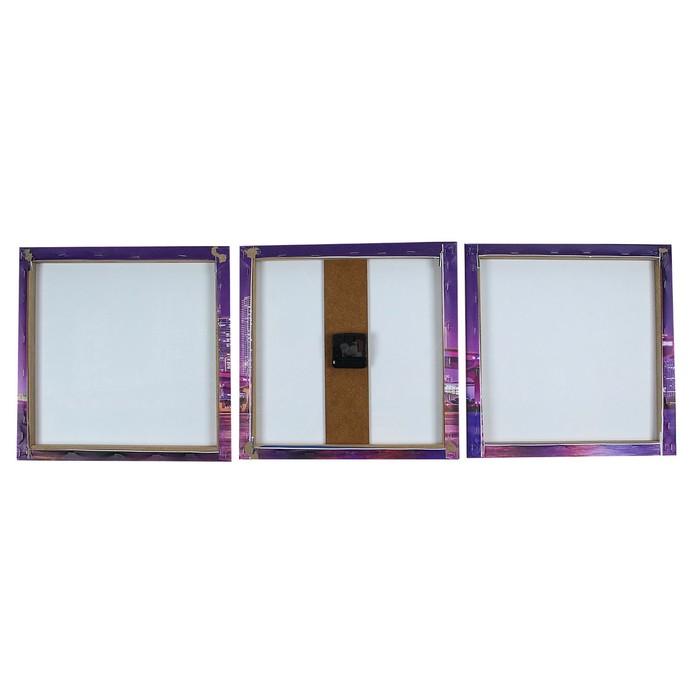 Часы настенные модульные «Лиловый мост», 35 × 110 см