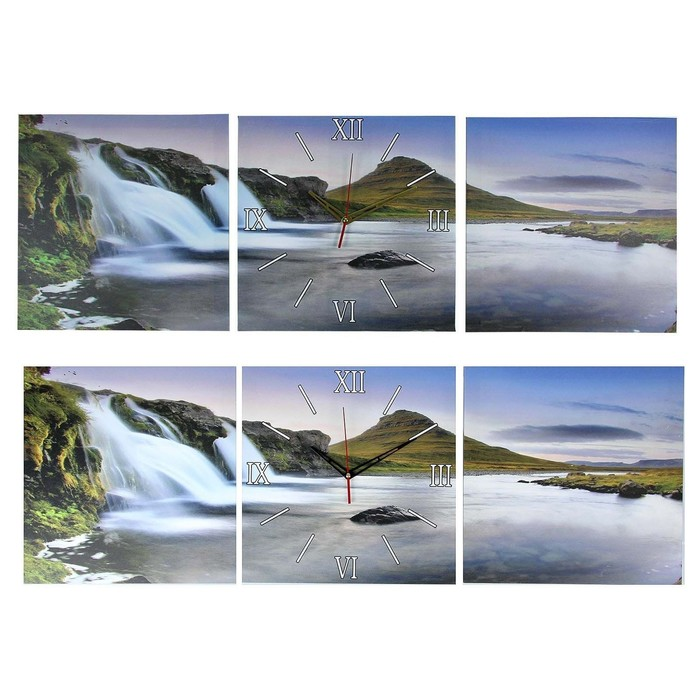 Часы настенные модульные «Водопад у горы», 35 × 110 см