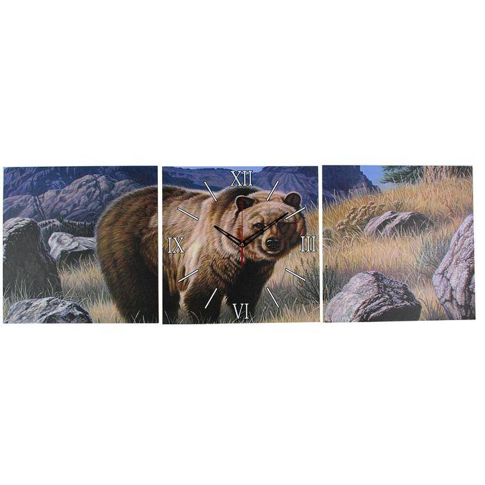 Часы настенные модульные «Медведь», 35 × 110 см