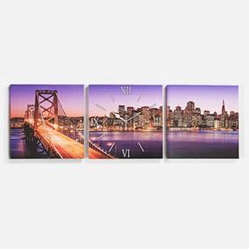Часы настенные модульные «Мост», 35 × 110 см