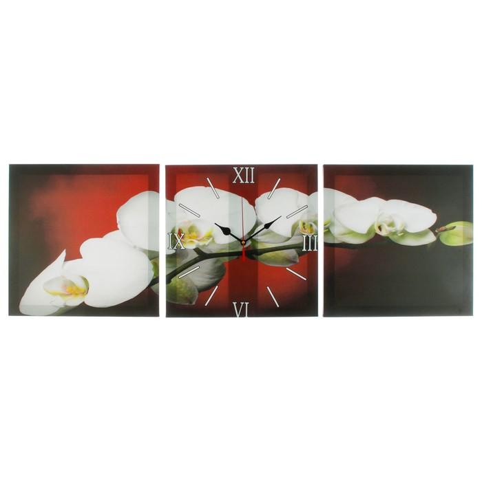 Часы настенные модульные «Веточка орхидеи», 35 × 110 см