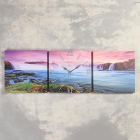 Часы настенные модульные «Водопады», 35 × 110 см