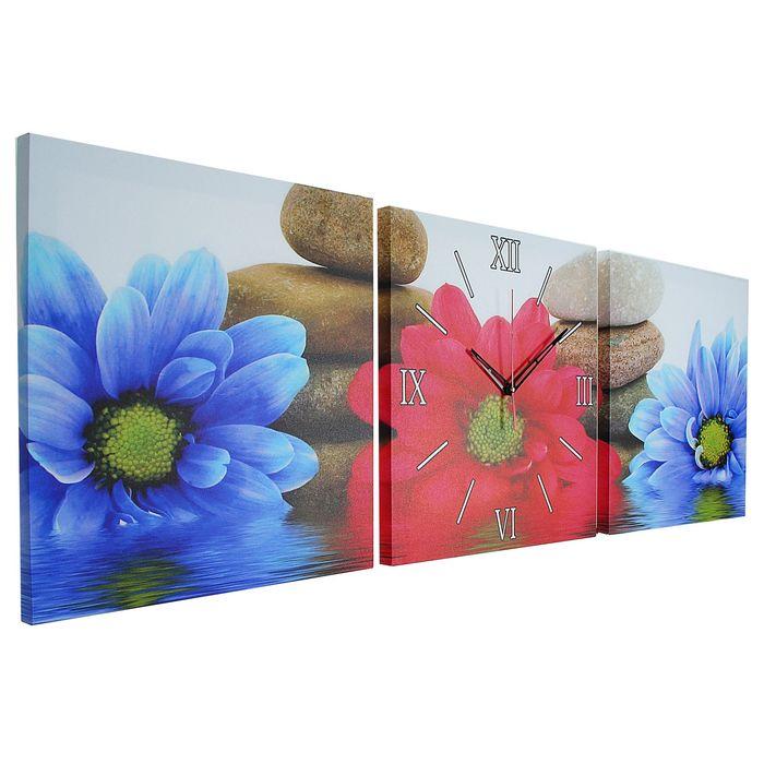 Часы настенные модульные «Разноцветные ромашки», 35 × 110 см