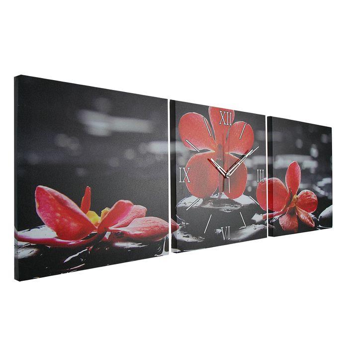 Часы настенные модульные «Орхидеи на камнях», 35 × 110 см