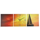 Часы настенные модульные «Парусник на закате», 35 × 110 см