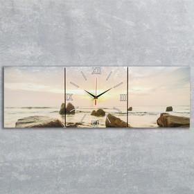 """Часы настенные, модульные, серия: Море, """"Закат на море"""", 35х110  см, микс"""