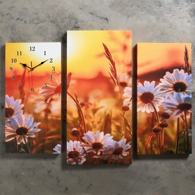 Часы настенные модульные «Ромашки на закате», 60 × 80 см Ош