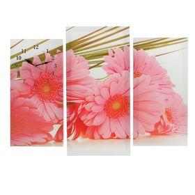 Часы настенные модульные «Розовые цветы», 60 × 80 см