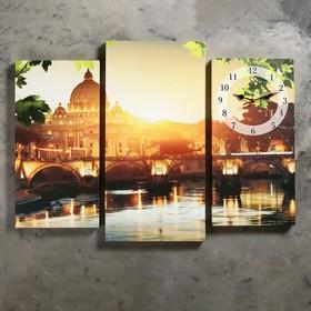 Часы настенные модульные «Закат Солнца у собора», 60 × 80 см