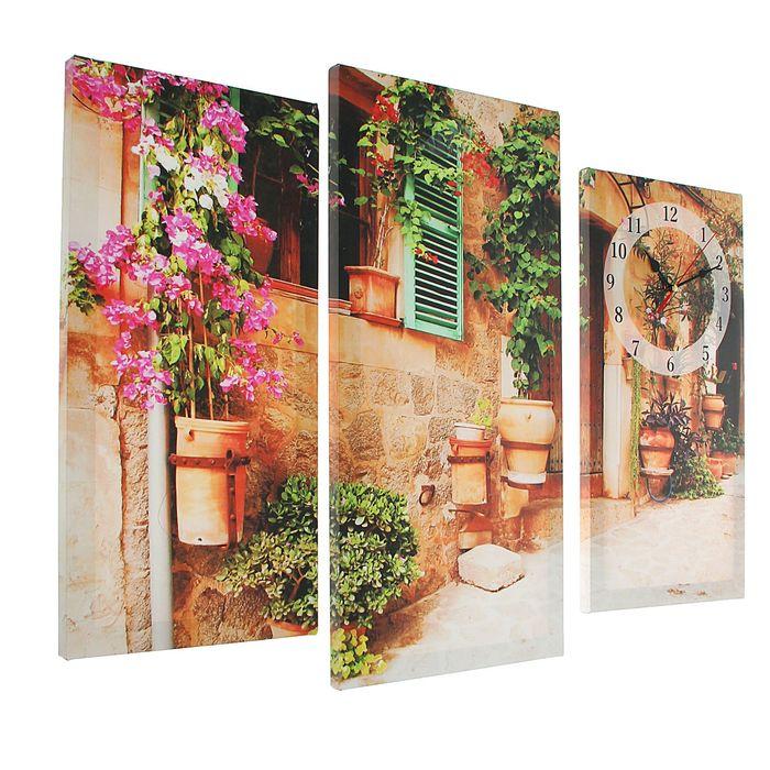 Часы настенные модульные «Украшенный цветами дом», 60 × 80 см