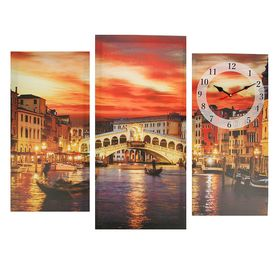 Часы настенные модульные «Мост в Венеции», 60 × 80 см