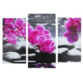 Часы настенные модульные «Орхидеи над камнями», 60 × 80 см