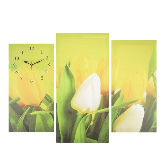 Часы настенные модульные «Жёлтые тюльпаны», 60 × 80 см