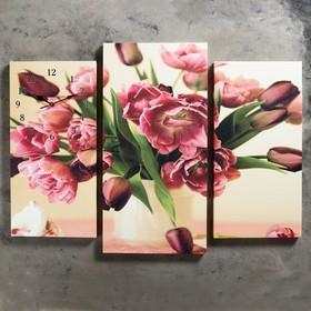 Часы настенные модульные «Цветы в вазе», 60 × 80 см