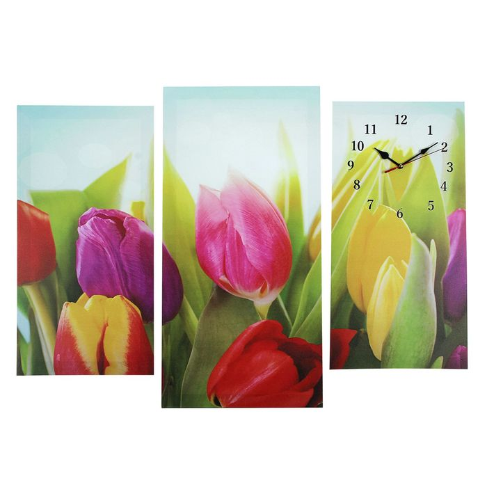 Часы настенные модульные «Разноцветные тюльпаны», 60 × 80 см