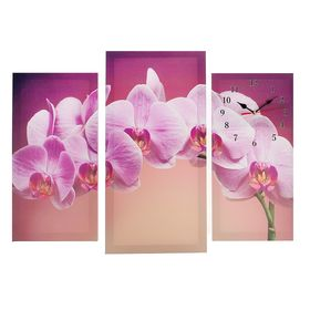Часы настенные модульные «Сиреневые орхидеи», 60 × 80 см