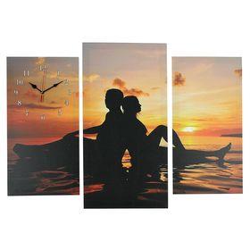 Часы настенные модульные «Влюблённая пара на мелководье», 60 × 80 см