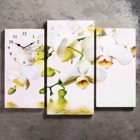 Часы настенные модульные «Белые орхидеи над водой», 60 × 80 см