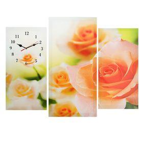 Часы настенные модульные «Розовые розы», 60 × 80 см
