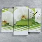 Часы настенные модульные «Белые цветы», 60 × 80 см
