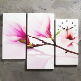 Часы настенные модульные «Веточка с фиолетовыми цветами», 60 × 80 см