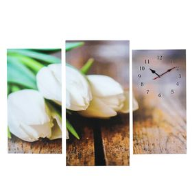 Часы настенные модульные «Белые тюльпаны», 60 × 80 см