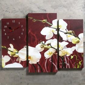 Часы настенные модульные «Белые орхидеи», 60 × 80 см