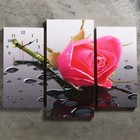 Часы настенные модульные «Розовая роза», 60 × 80 см